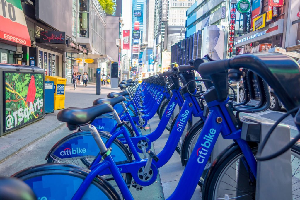 NEW YORK, USA - NOVEMBER 22, 2016: Bike rental on Times Square parked in a row in the street in New York city USA; Shutterstock ID 760536160